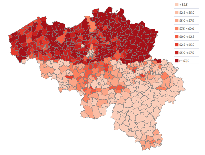 Total coverage of breast cancer screening  in women 50-69 years old, by municipality (2016)